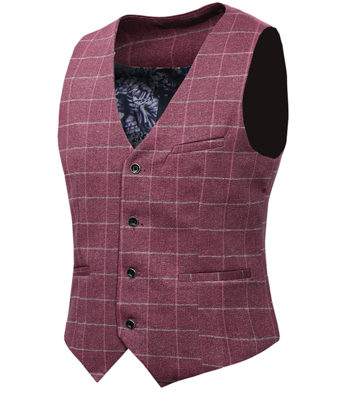 Cloudstyle Mens Vintage Tweed Suit Waistcoat Checkered Slim Fit V-neck Sleeveless Tops Smart Formal TZMJ05
