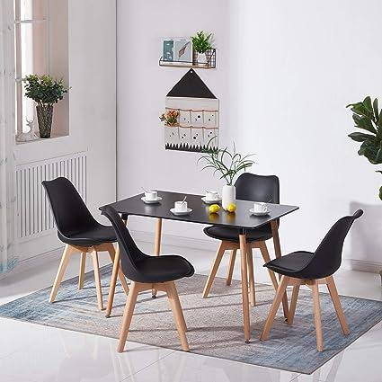 Table de Cuisine Salon et Fauteuils avec Pieds en Bois Blanc EGGREE Ensemble Table et 2 Chaises Salle /à Manger Scandinave