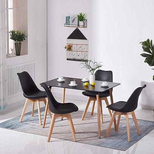 HJ WeDoo Rechteckig Esstisch Buchenholz für 4 6 Stühle Esszimmertisch Küchentisch MDF Schwarz 110 x 70 x 73 cm (Nur Tisch)