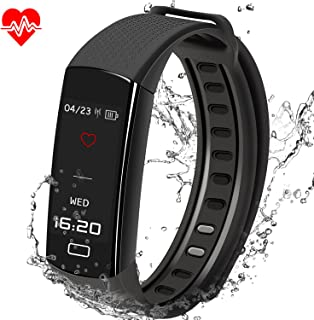 Fitness Tracker, MOCRUX Smart Bracelet with Heart Rate Monitor and Sleep Monitor,Sport Tracker,Pedometer Tracker with TFT Color Screen & IP67 Waterproof and Built-in USB Charging for Android and iOS