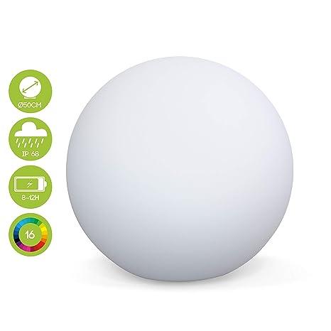 Boule LED 50cm - Sphère décorative lumineuse, 16 couleurs, Ø 50 cm,  chargeur sans fil induction.