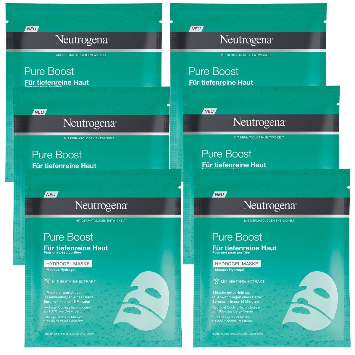 Neutrogena Pure Boost idrogel Maschera, Confezione da (6X 10G) 93665
