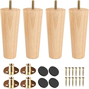 12 inch Solid Wood Furniture Legs, Btowin 4Pcs Mid-Century Modern Wooden Replacement Feet with Threaded 5/16'' Hanger Bolts & Mounting Plate & Screws for Sofa Couch Armchair Cabinet TV Stand