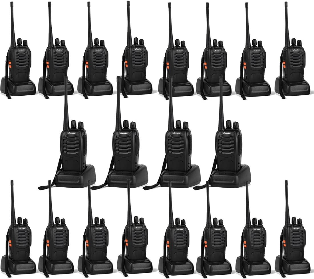 Ansoko 20 Pack Walkie talkies Long Range with Earpiece Rechargeable 2 Way Radio UHF 400-470MHz 16-Channel for Outdoor Warehouse Factory Security Com Travel etc. Pack of 20