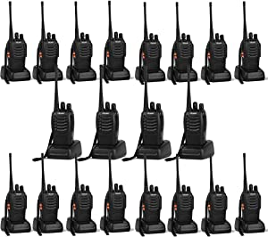 Ansoko 20 Pack Walkie talkies Long Range with Earpiece Rechargeable 2 Way Radio UHF 400-470MHz 16-Channel for Outdoor Warehouse Factory Security Com Travel etc.(Pack of 20)