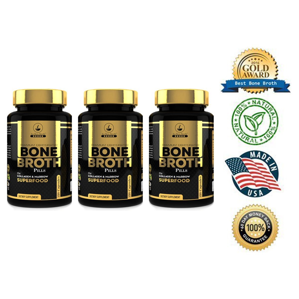 Bone Broth Protein Powder Superfood Capsules - Organic Dehydrated Grassfed Beef + Chicken Powder Blend Pills - Non-GMO - Great Source of Collagen + Bone Broth Protein (540 Capsules Total)