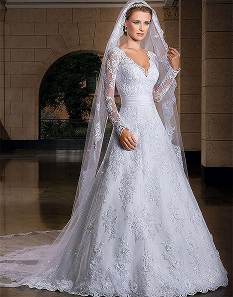 Vestiti Da Sposa Merletto.Happymood Vestito Da Sposa Lungo Evening Prom Abito Da Sposa