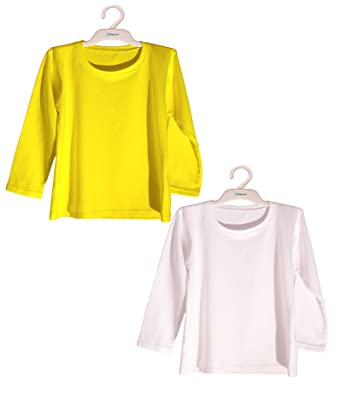 2baa333ee83d7 Haoser Kids Round Neck Plain Full Sleeve 100% Cotton Yellow and ...