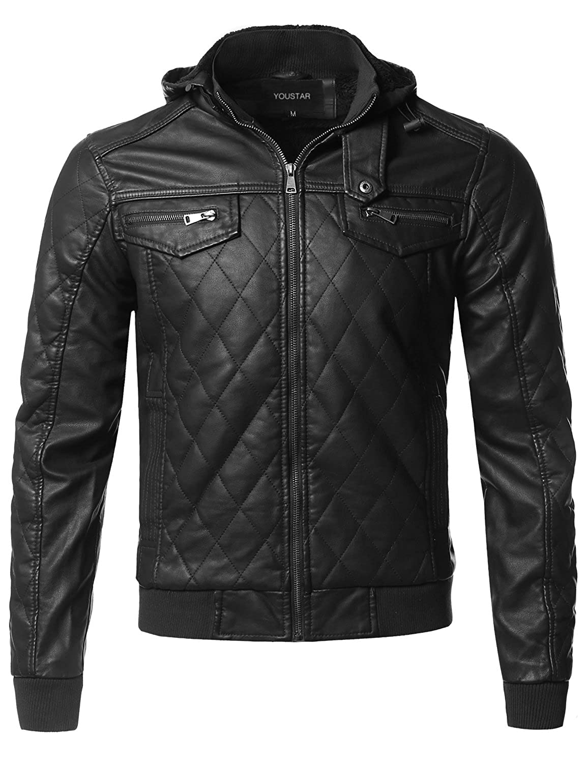 Youstar Men's Moto Racer Faux Leather Jackets