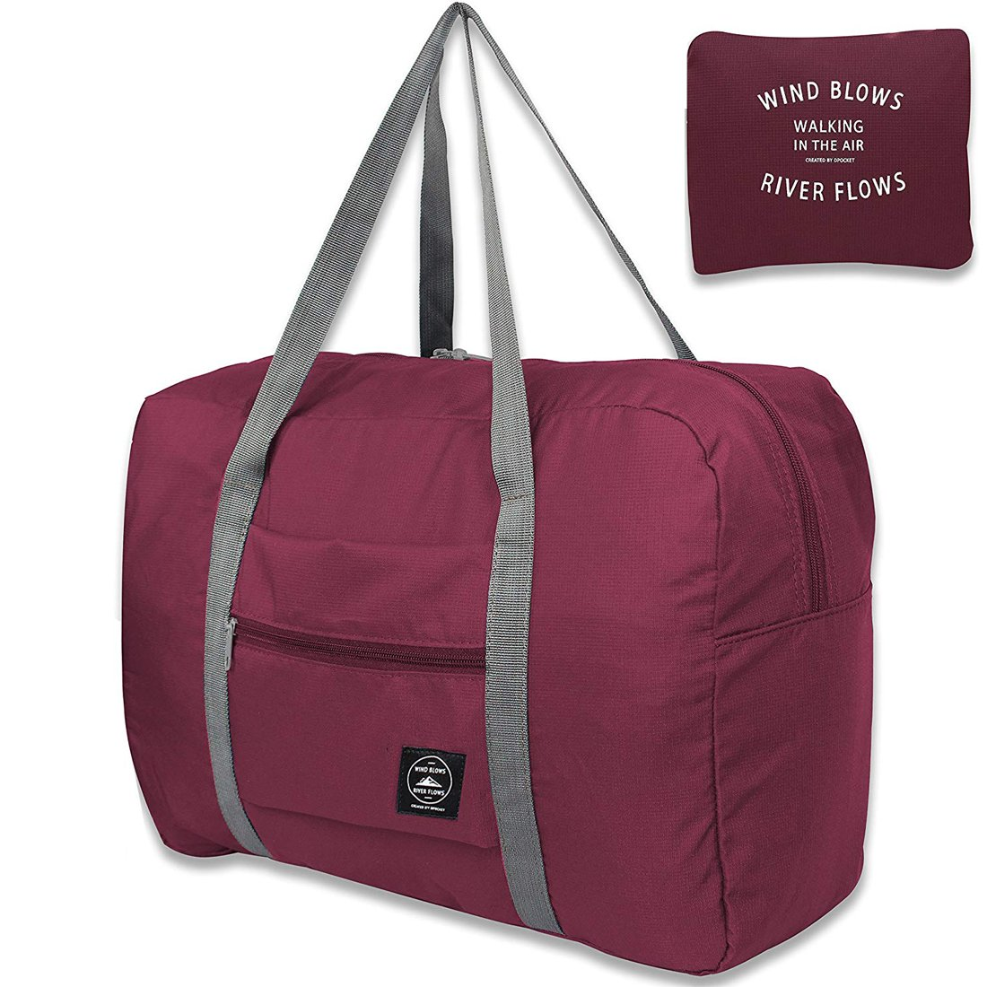 Unova Travel Duffel Packable Light Nylon Water Resistant Gym Tote Weekend Overnight Carry-on Shoulder Bag (Wine Red)