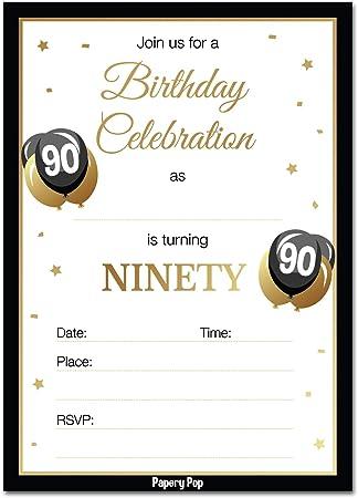 Amazon Com Invitaciones De 90 Cumpleaños Con Sobres 30