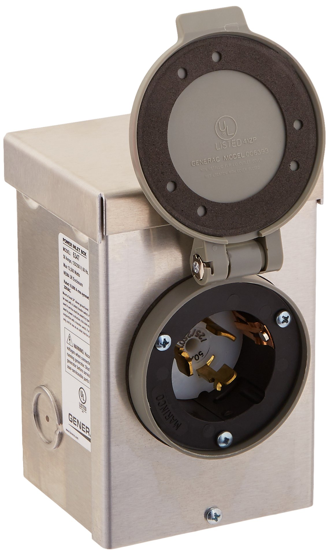 Generac 6347 50-Amp 125/250V Aluminum Power Inlet Box with Spring-Loaded Flip Lid by Generac (Image #2)