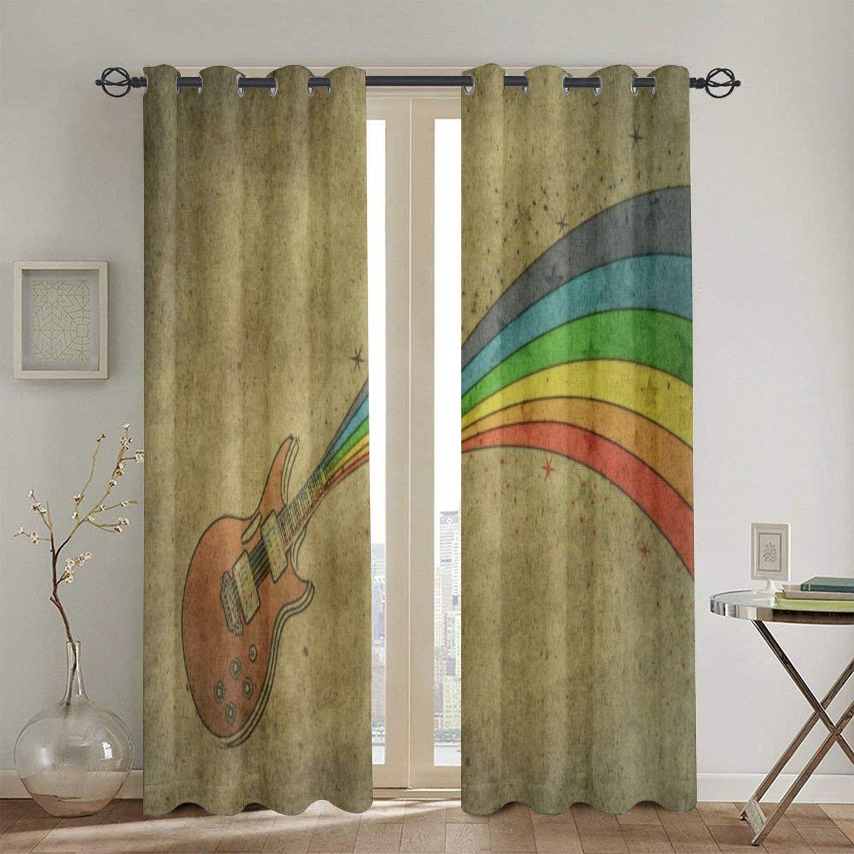 XicoLtd Guitar Rainbow Window Curtains Window Drapes Blackout Curtains Panels - 2 Panels 52 x 72 in by XicoLtd