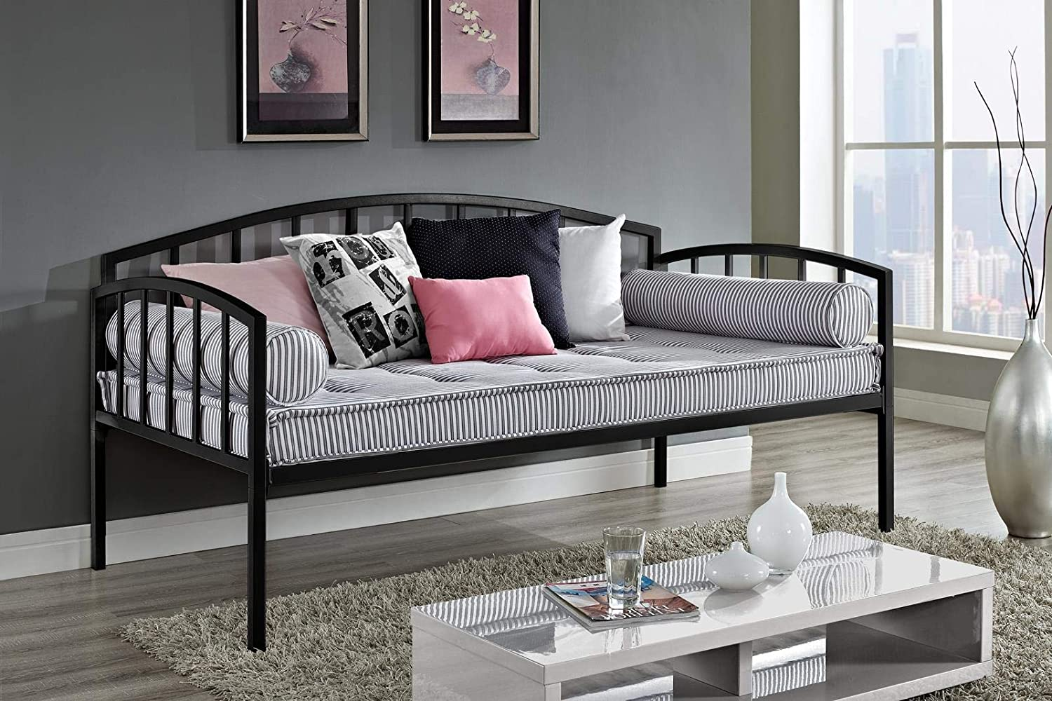 White DHP Ava Metal Daybed Frame with Round Arm Design Fits Twin Size Mattress