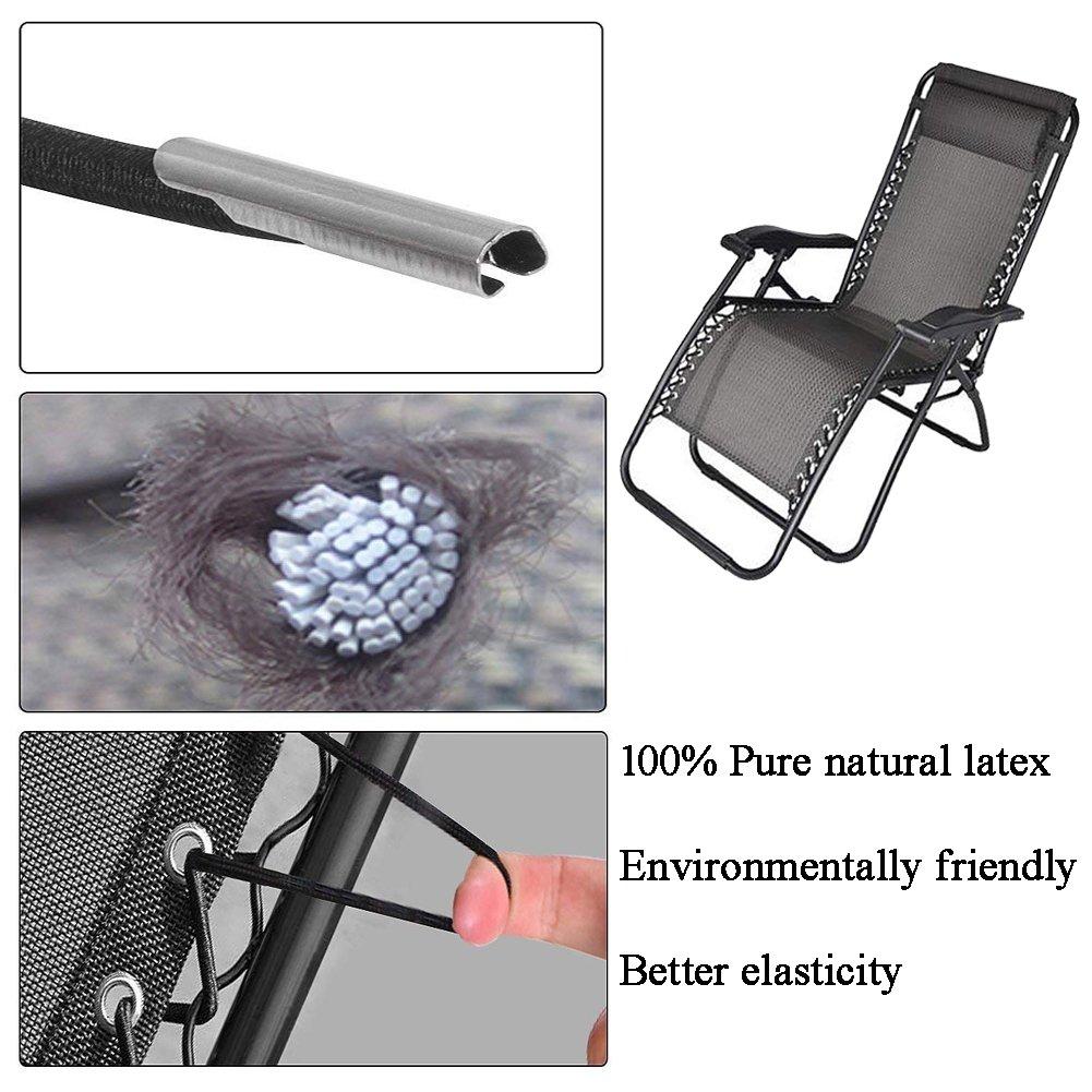 poltrone e sedie Elastiche sedie reclinabili da Giardino Colore: Nero Lacci di Ricambio universali per Sedia reclinabile Zero Gravity Confezione da 4 Senma Electronics