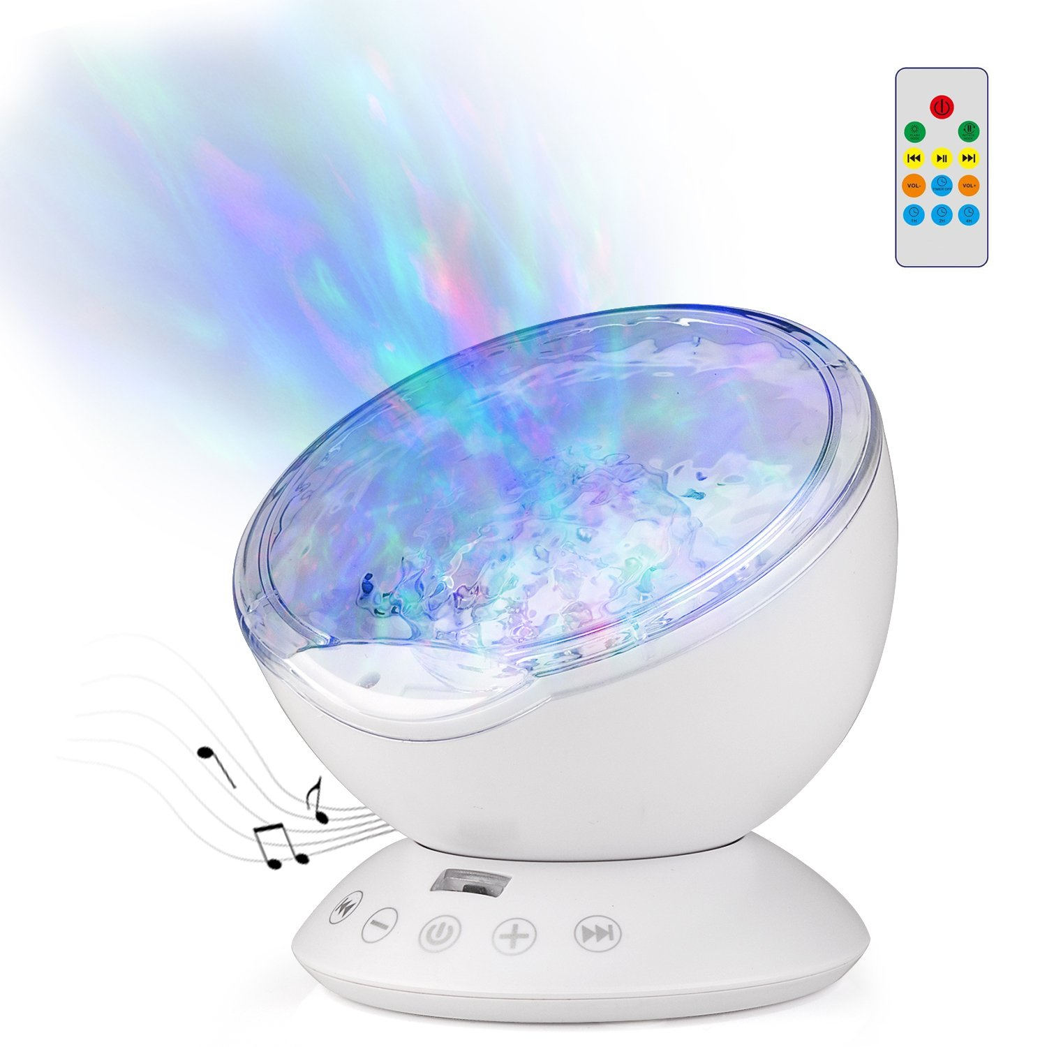 GoLine Ocean Wave Projector Lamp with Built-in Music Player, Remote Control 4 Sounds&7 Lights&12 LED Beads Projection Nightlight for Kids Bedroom, 1H/2H/4H Timer, TF Slot, 3.5mm Aux-in.(NL020-BE) GL-NL020-BE