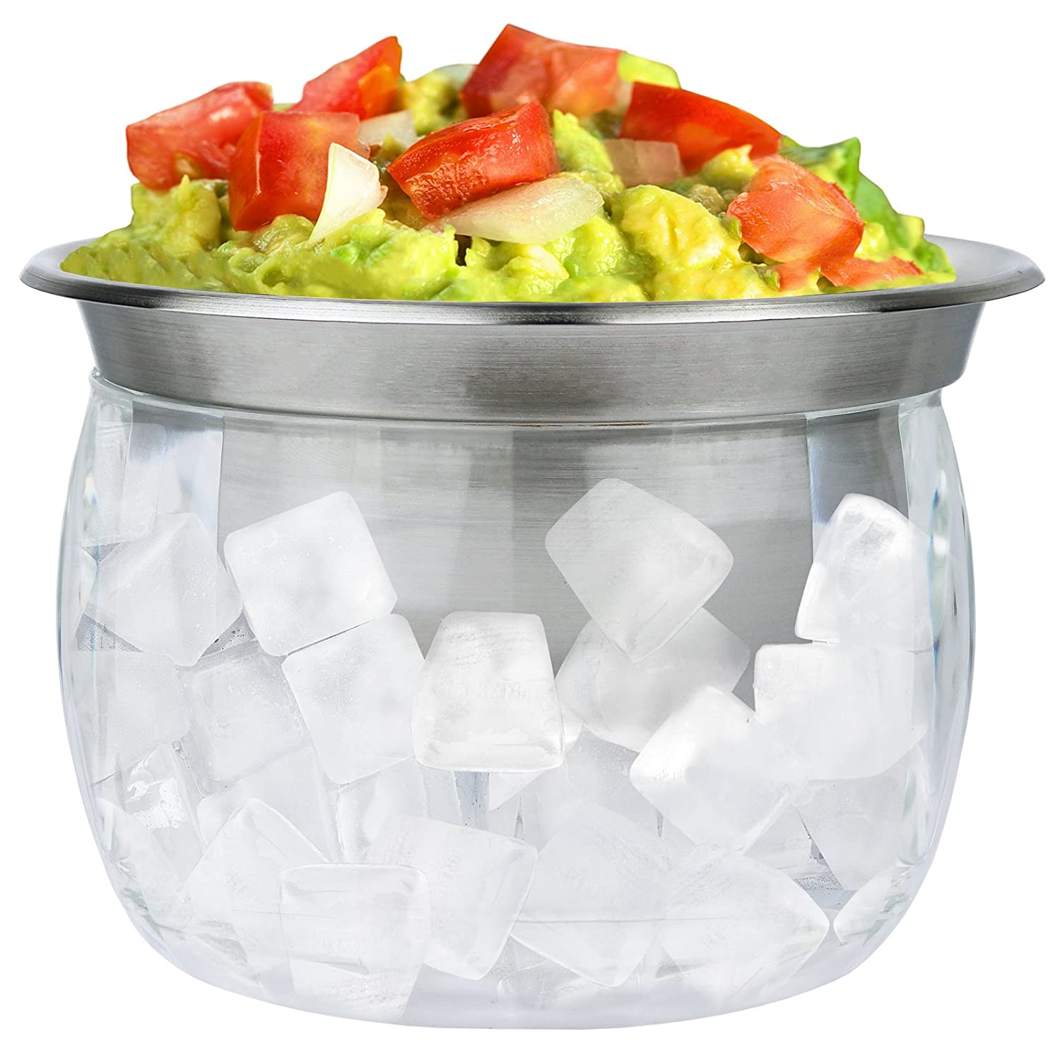 Estilo Stainless Steel Serving Bowl with Acrylic Ice Bowl Base