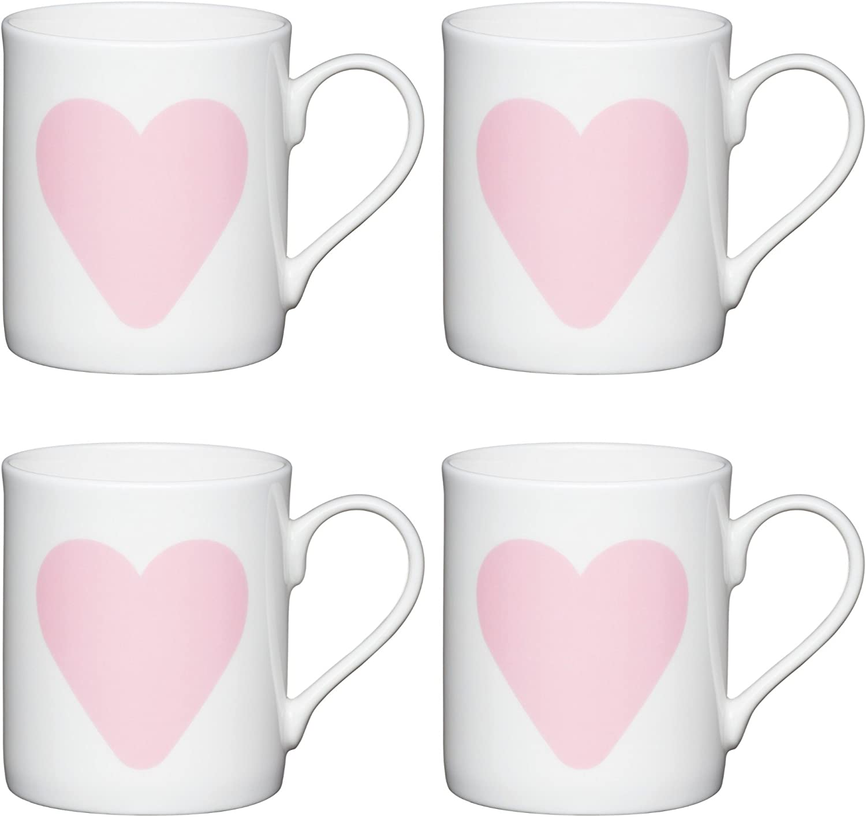 MUGS Big Heart Childrens Small Printed 250 ml China White//Pink Set of 4