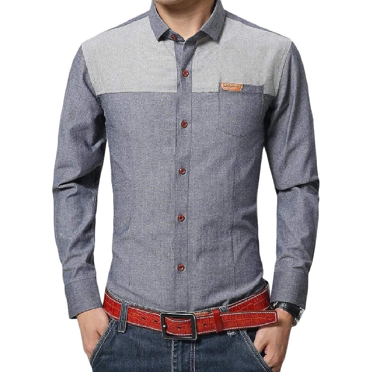 VITryst-Men Formal Cotton Spread Collar Non-Iron Plus Size Woven Shirt