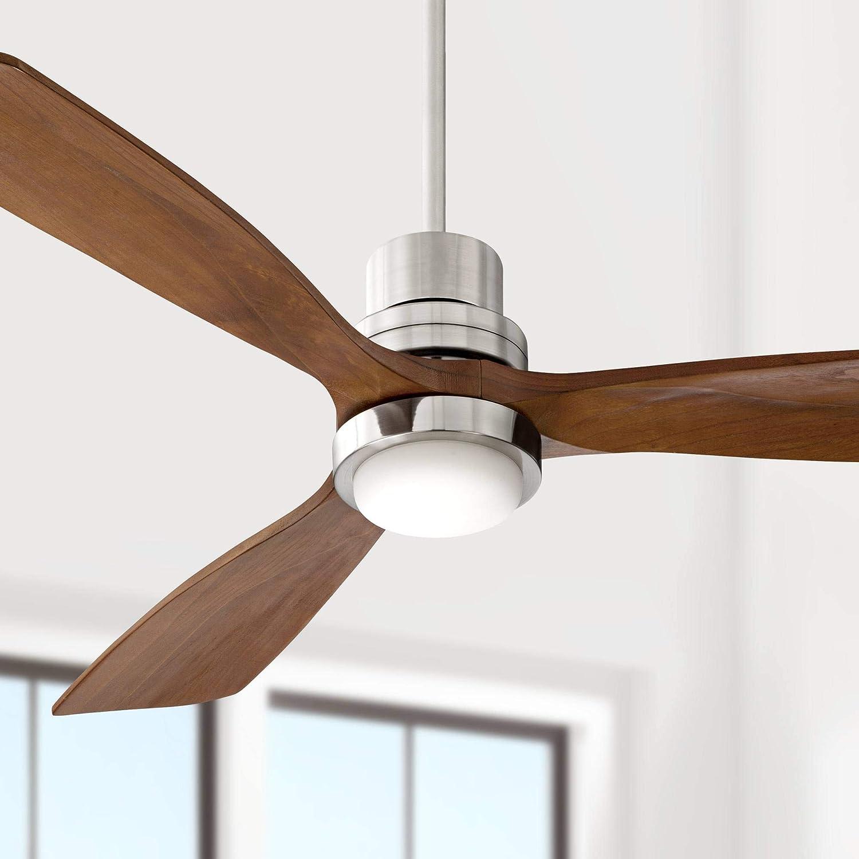 "52"" Casa Delta-Wing Brushed Nickel LED Ceiling Fan"