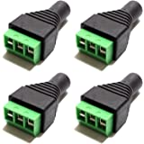 CESS 3.5mm Stereo Balanced Female Jack to AV Screw Video Balun Terminal (LW) (4 Pack)