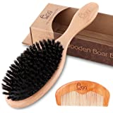 BLACK EGG Boar Bristle Hair Brush with Wooden Paddle for Thin and Normal Hair Adds Shine and Improves Hair Texture for…