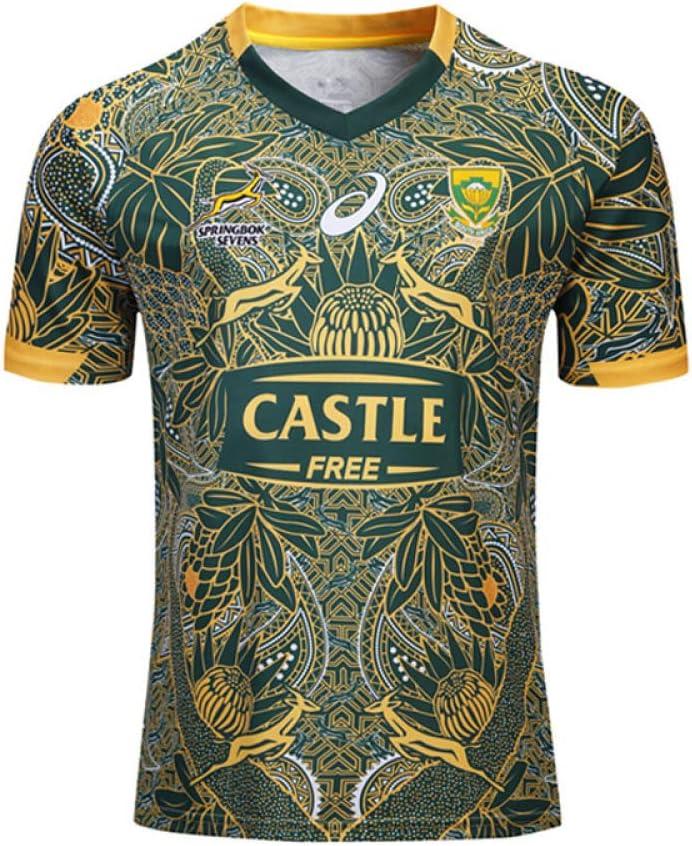 FJXJLKQS World Cup South Africa Edition Rugby-Trikots Heim Und Ausw/ärtsfu/ßball Tragen Jersey-Teamanz/üge Jersey Atmungsaktives Trainer-T-Shirt Aus Polyester,Green-S