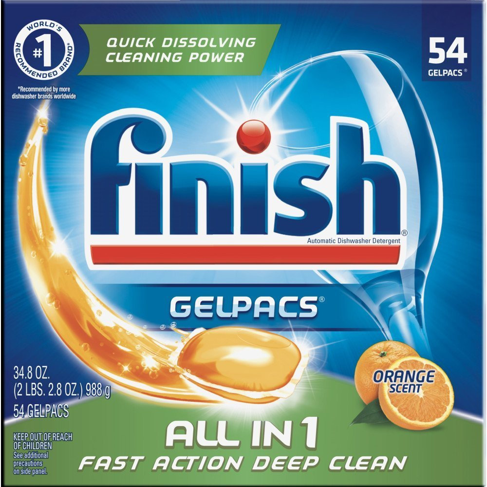 Finish All in 1 Gelpacs Orange, 54ct, Dishwasher Detergent Tablets (Pack of 5)