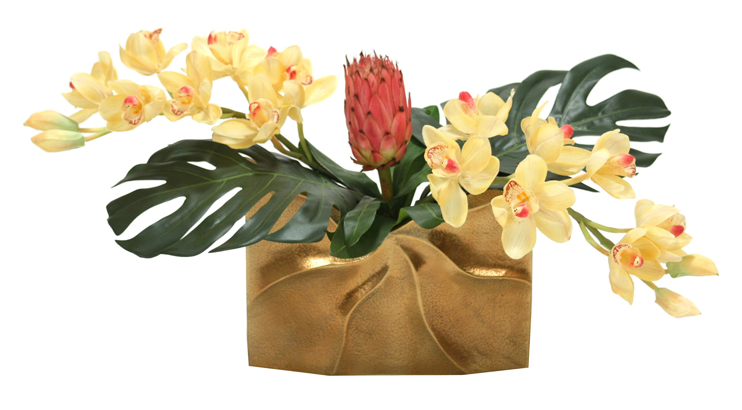 Distinctive-Designs-Tropical-Mix-of-Champagne-Burgundy-Orchids-and-Protea-in-a-Gold-Ritz-Vase