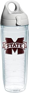 Tervis Mississippi State University Emblem Individual Water Bottle with Gray lid, 24 oz, Clear