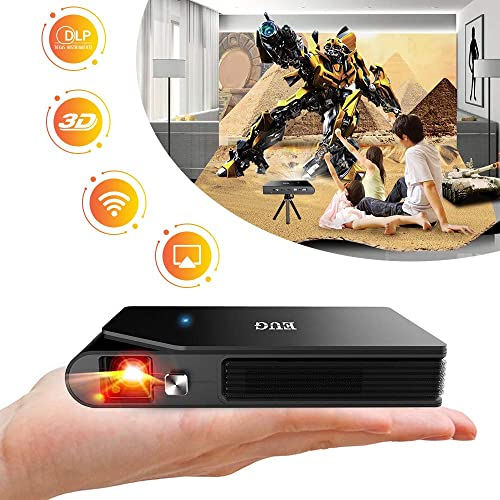 WIKISH Mini Projector Portable,Wireless Wifi Pocket Projector for 3D Movie Home Theater Dvd Tv Ps4 Laptop Usb Drive Pc,Support Airplay Dlp Hdmi
