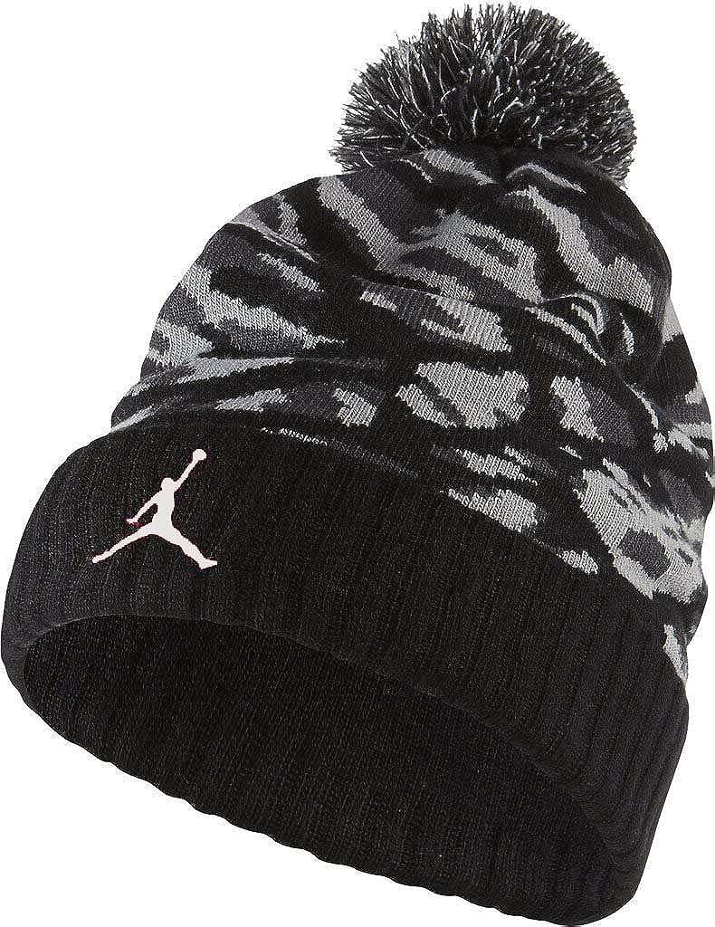 timeless design 5fbfb 74580 Amazon.com  Boys 8 20 Air Jordan Camo Pom Pom Beanie Black Grey  Sports    Outdoors