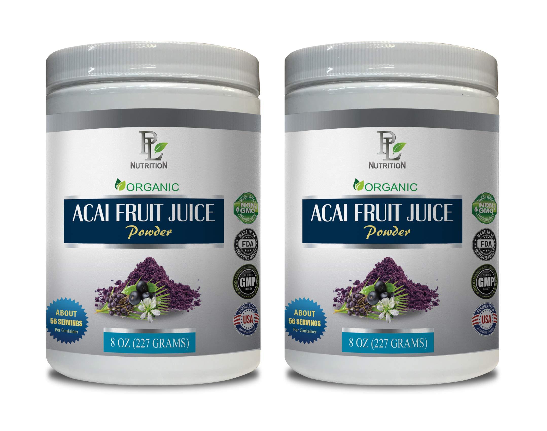 Organic antioxidant Supplement - ACAI Fruit Juice - Powder Organic - acai Weight Loss - 2 Cans 16 OZ (130 Servings)
