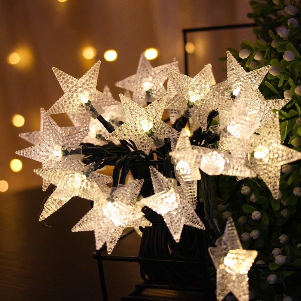 FUNIAO Solar String Lights,16.4ft 30Led Fairy Star Decorative Solar Light Fit Chrismas Garden Wedding Party Landscape (2 Pack,60LED) (Warm White)