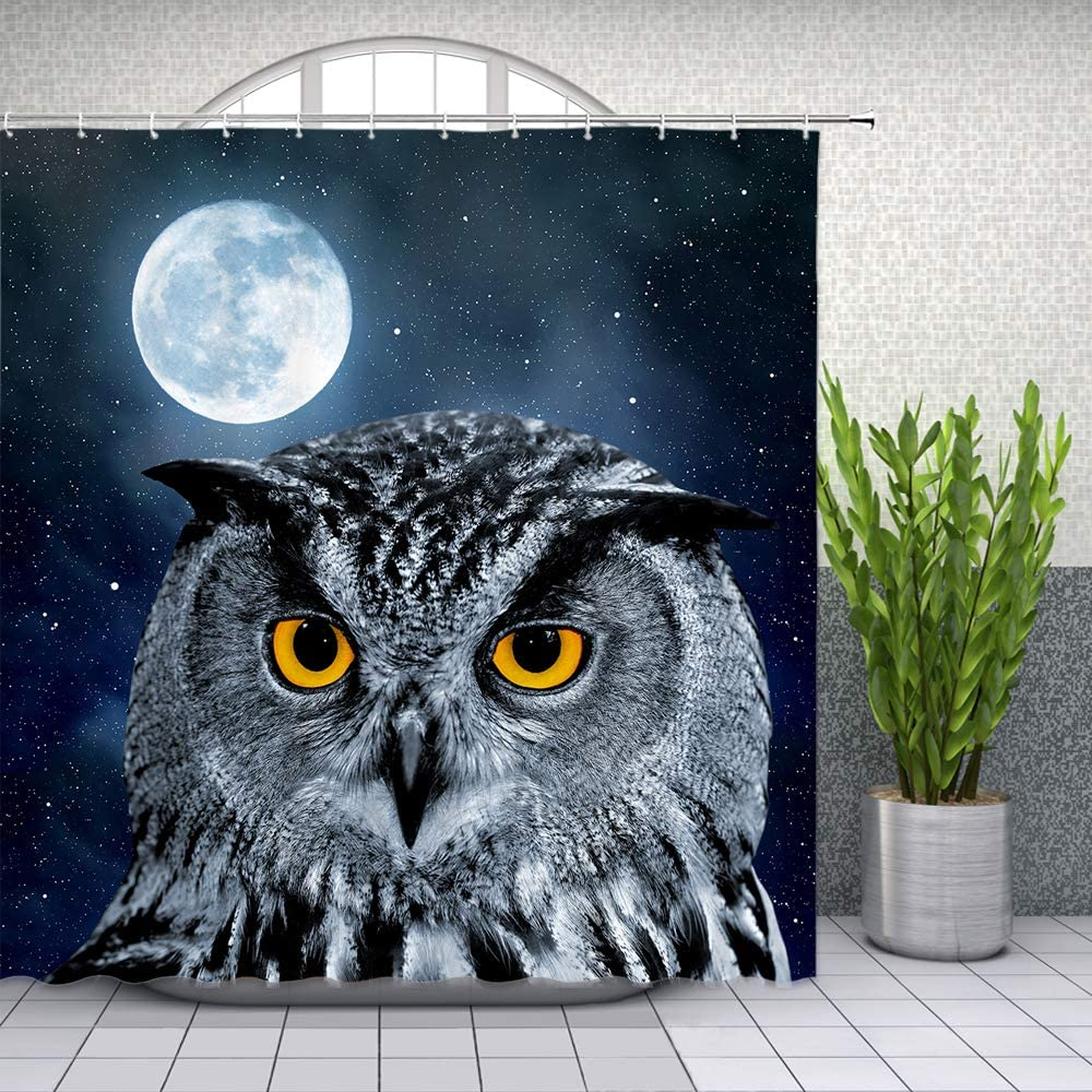 Lileihao Owl Shower Curtain Bird Moon Starry Sky Night View Bathroom Waterproof Polyester Fabric Home Bath Decor Accessories Hanging Curtains Set with Hook 69 x 70 Inch