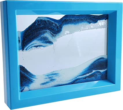 Blue Sand Waves Moving Art Sand Picture Soothing Motion of Drifting Sandscape