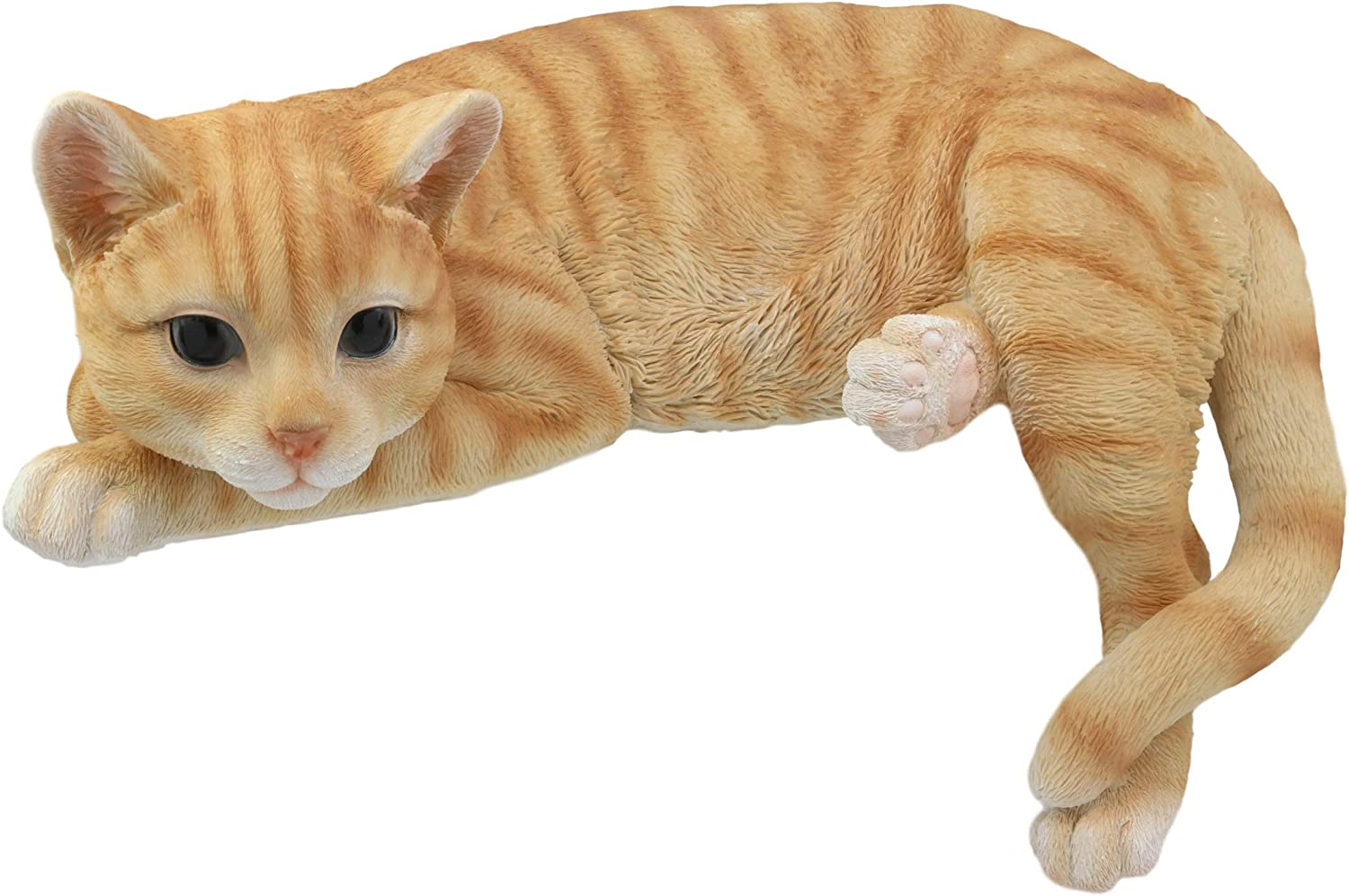 "Ebros Lazy Days Lifelike Perching Orange Tabby Cat Shelf Sitter Statue 13.25"" Long with Glass Eyes Hand Painted Realistic Feline Decor Figurine Cats Kittens Kitties Animal Pet Sculpture"