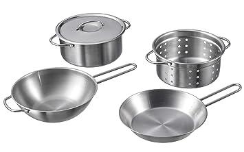 Ikea Duktig Juego de Cocina Infantil, 4 Piezas; de Acero Inoxidable: Amazon.es: Hogar