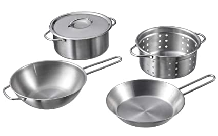 Allkindathings  Childrens Quality Coloured Toy Stainless Steel Kitchen Set Pots Pans and Accessories