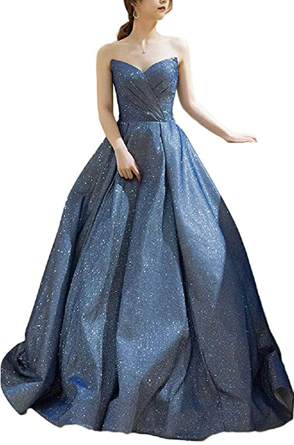 bluee Ri Yun Women's Glitter Jersey Sweetheart Prom Dresses Long 2019 Strapless Sparkly Formal Evening Gowns Wedding Party Dresses