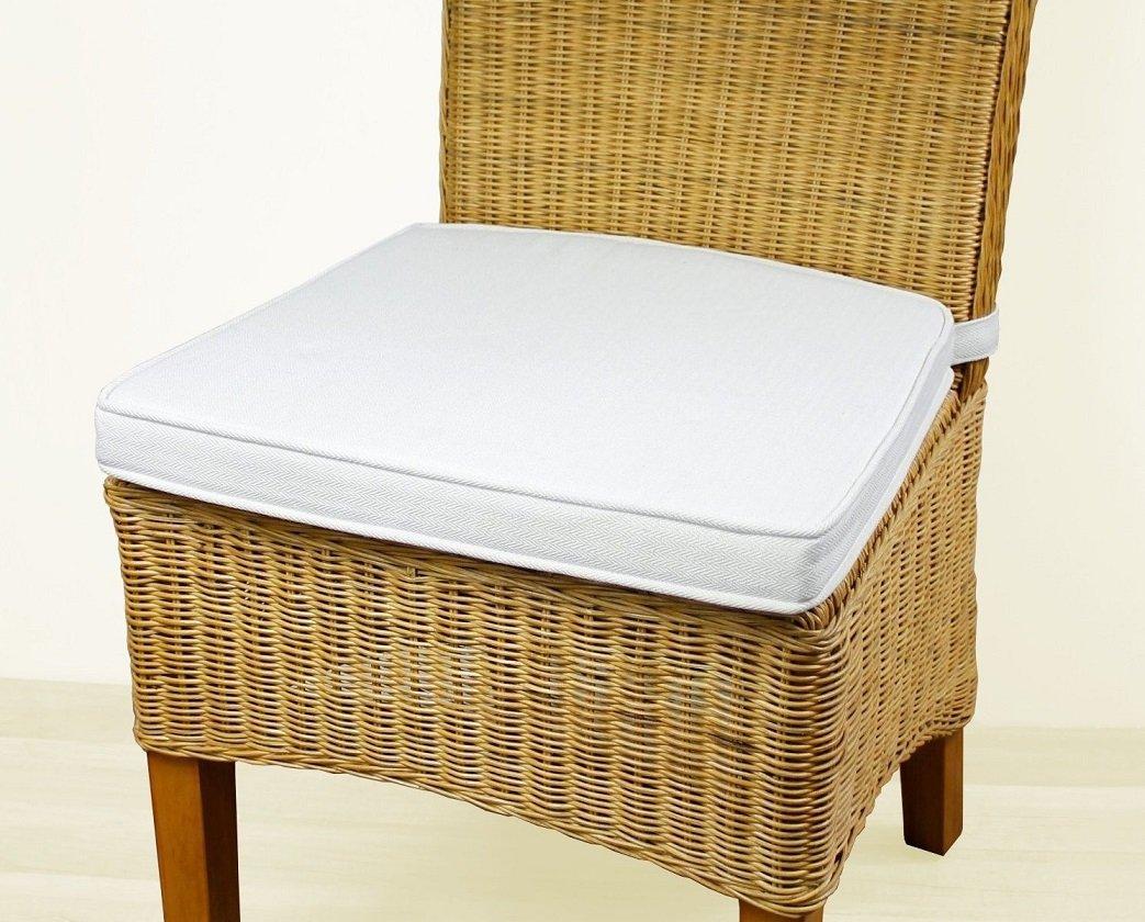 Sedex 2er Set Sitzpolster Larissa Sitzkissen Stuhlkissen Auflage Kissen Polster 100/% Baumwolle Natur