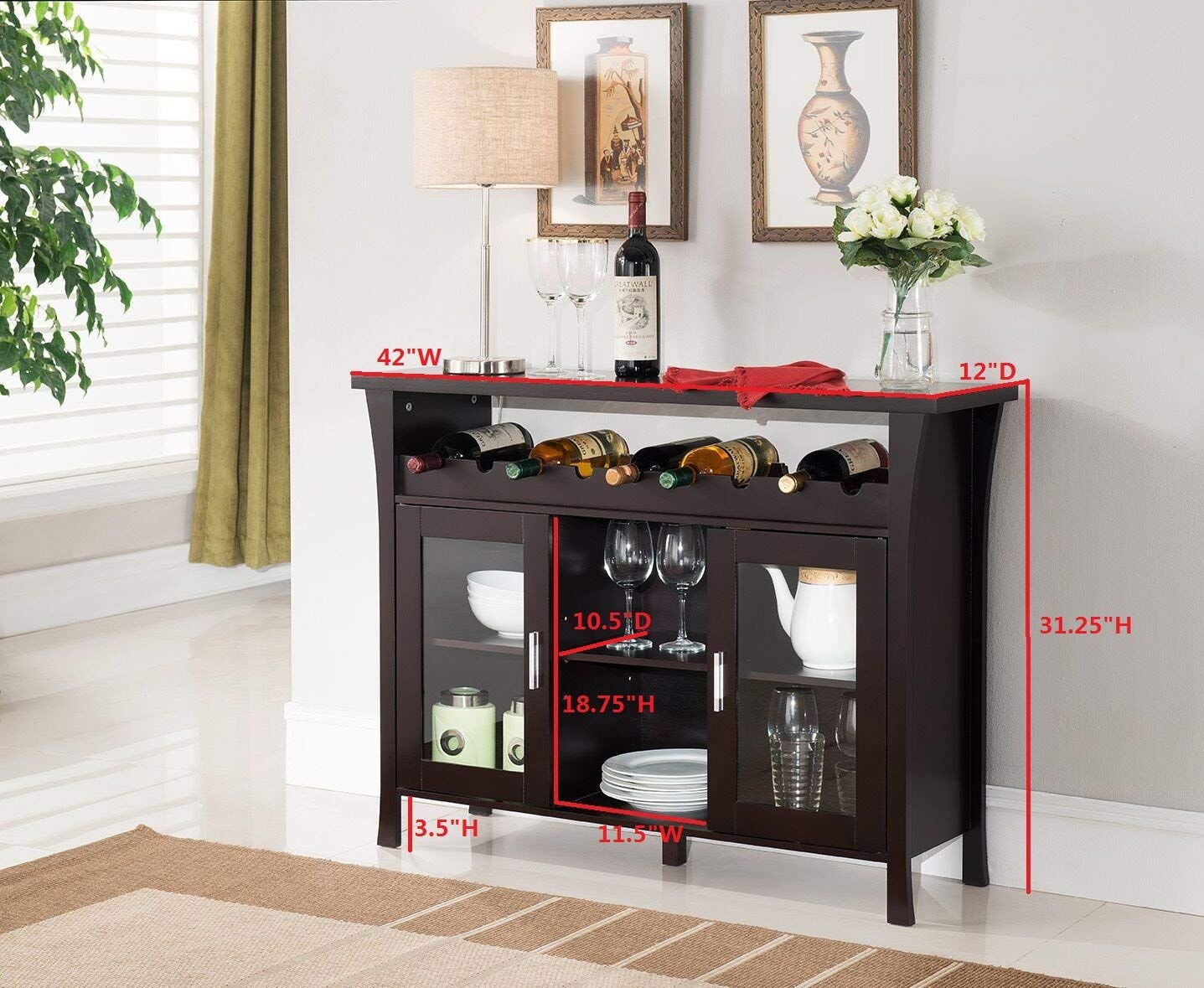 Amazon Com Kings Brand Furniture Wine Rack Buffet Server Console