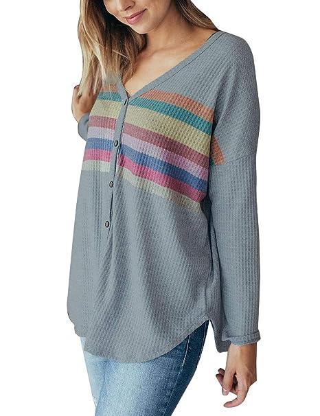 2fe88c2864b7 Yieune V-Ausschnitt Bluse Damen Langarm Stricken Shirt Schöne Oberteile  Casual Tunika (Grau S