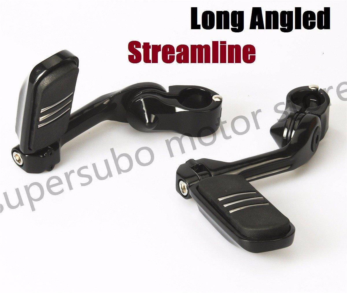 Black Streamline highway footpegs harley foot pegs engine guard footpegs For Harley Honda Suzuki Black 1.25'' Long Angled