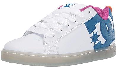 5cedcee933891 Amazon.com   #DC Court Graffik SE White Cyan Leather Mens Skate ...