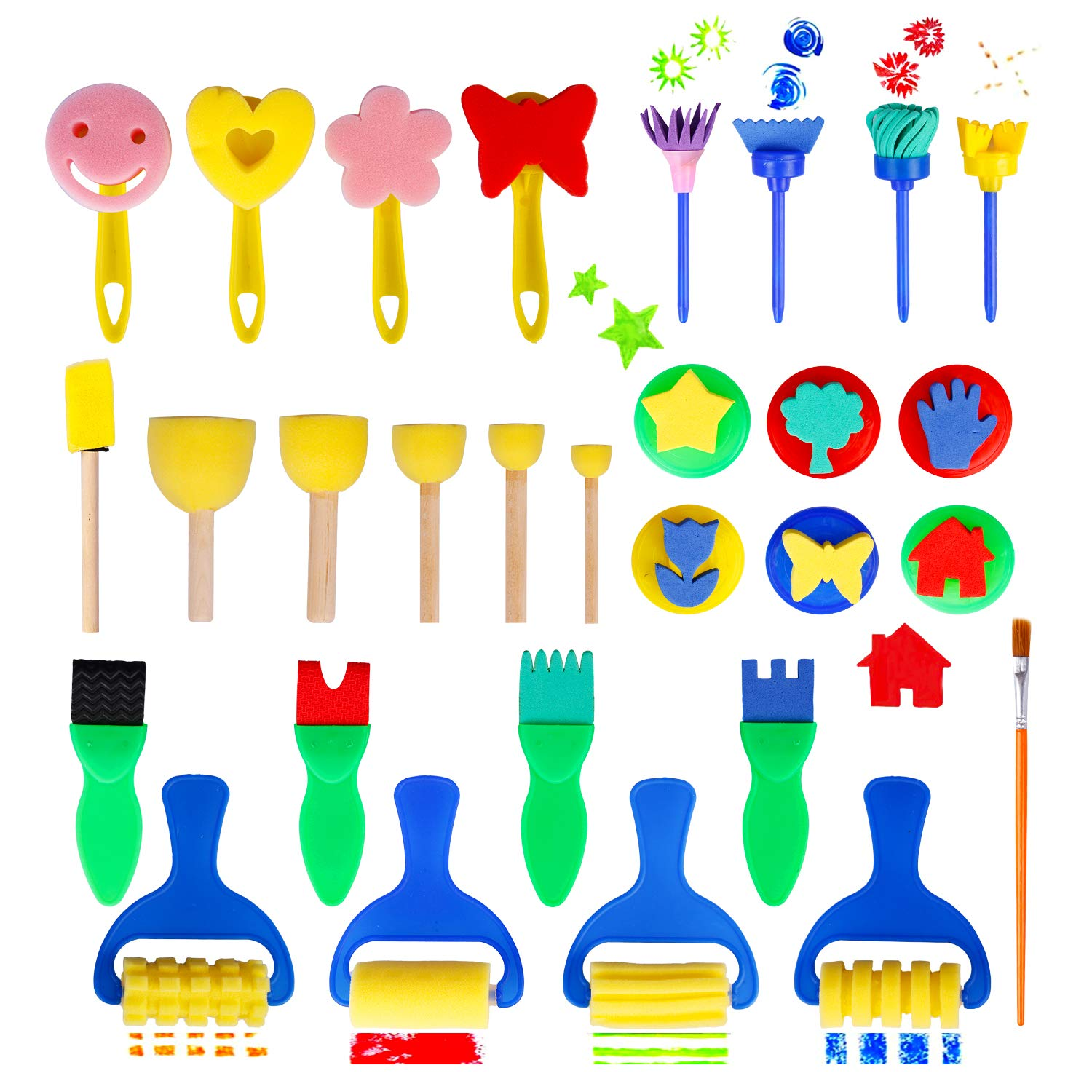 Hakkin 29 Pcs Washable Paint Brushes Set Drawing Tools Sponge Painting Kits Early DIY Learning Craft Art Supplies for Kids Toddlers by Hakkin