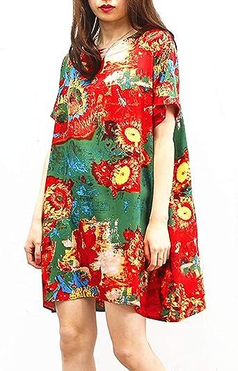 Mini Vestido De Algodón Floral Manga Corta Túnica Vestidos Casuales para Mujer: Amazon.es: Ropa y accesorios