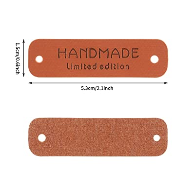crochet 5 labels Handmade PU Leather Tags Rectangle Embossed Label sew Knit