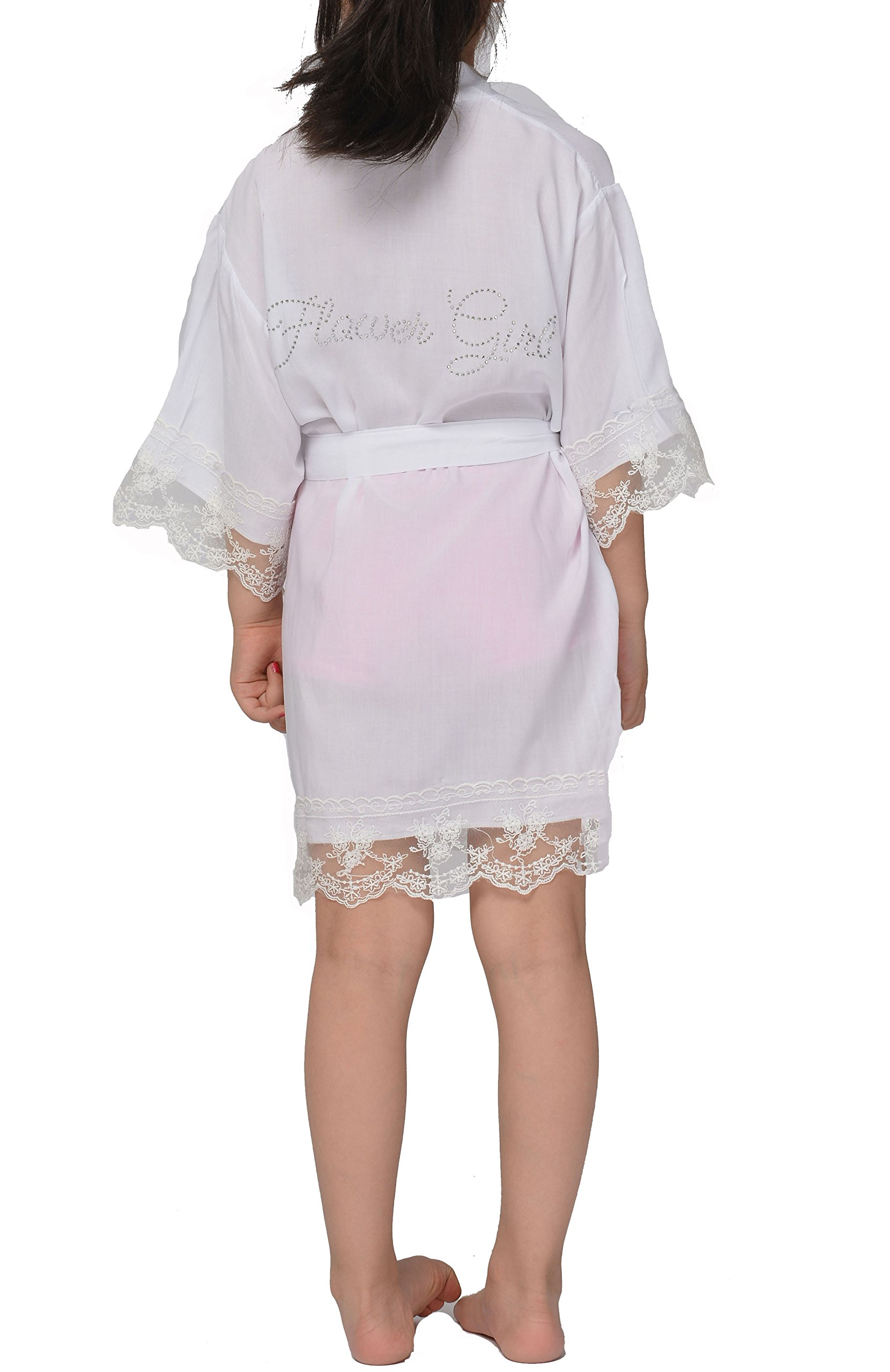 Girl robes And Kids Junior Bridesmaid robe With Sparkly Rhinestone WithFlower Girl Graphic On Back