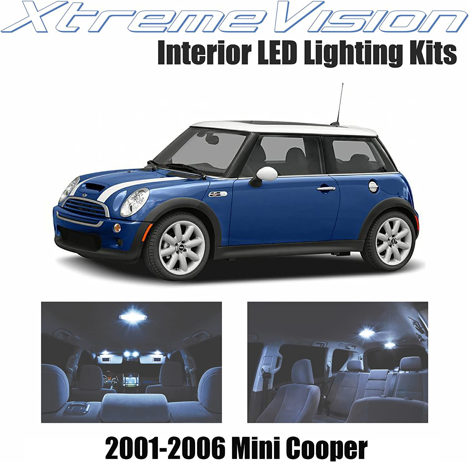 Xtremevision Interior LED for Mini Cooper 2001-2006 (8 Pieces) Cool White Interior LED Kit + Installation Tool